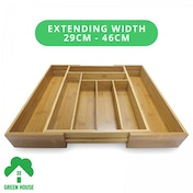 Ex-Display Bamboo Extending Cutlery Drawer Tray With Adjustable Compartments Green House Used - Like New
