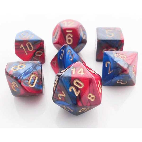 Chessex Gemini Poly 7 Dice Set: Blue-Red/Gold