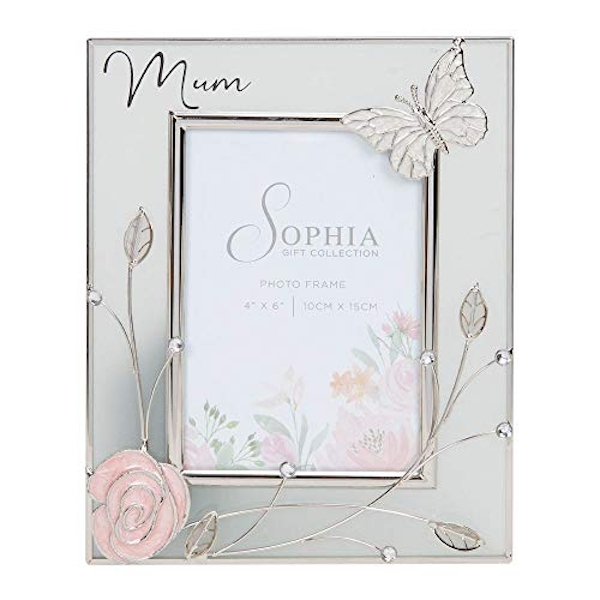 """4"""" x 6"""" Sophia Glass & Wire Photo Frame with Butterfly - Mum"""