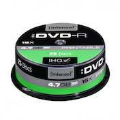 Intenso DVD-R, 4.7GB/120 Minutes, 16x Speed, Single Layer, Printable, Cake Box of 25