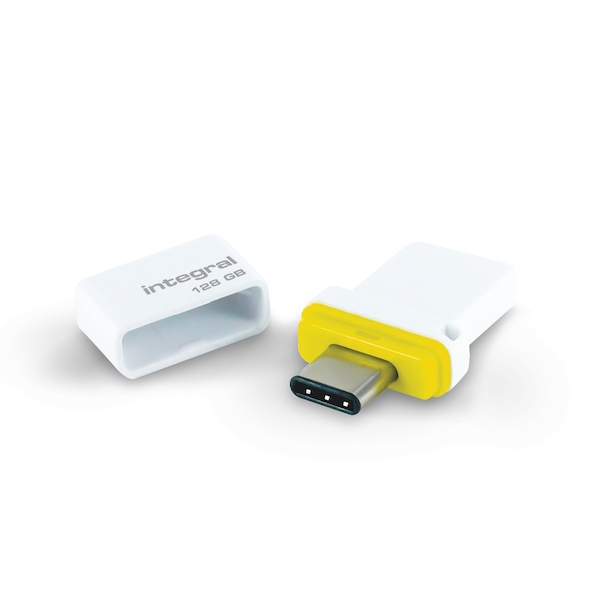 Integral 128GB USB3.0 Memory Flash Drive (Memory Stick) Fusion Dual Type-C Yellow