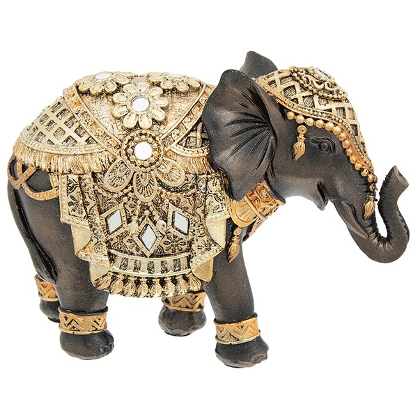 Black Gold Elephant Small Ornament