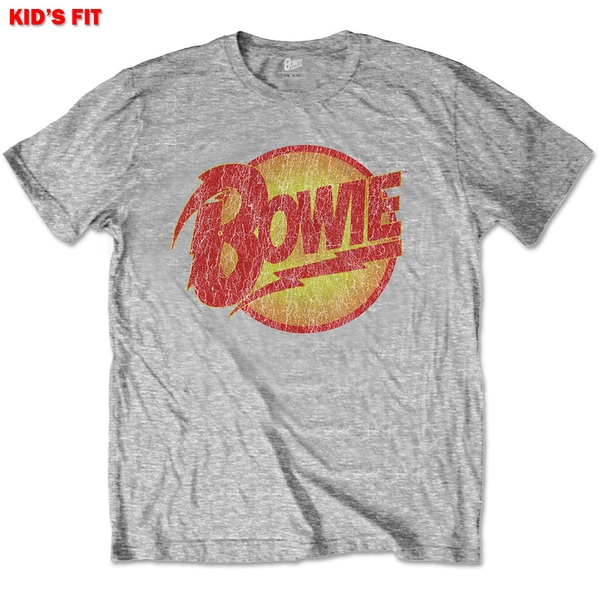 David Bowie - Vintage Diamond Dogs Logo Kids 9 - 10 Years T-Shirt - Grey