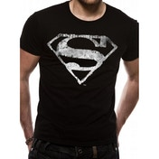 Superman Logo Mono Distressed Large T-Shirt