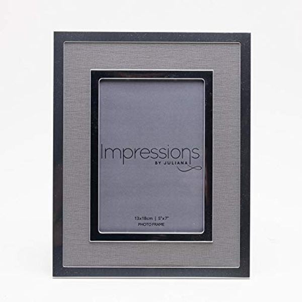 """5"""" x 7"""" - Silver Plated Photo Frame with Grey Linen Insert"""