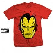 Marvel Comics Iron Man Big Head Mens Red T Shirt Large