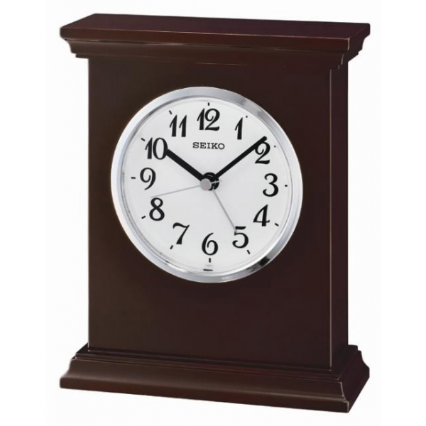 Seiko QXE053B Wooden Mantel Alarm Clock Black