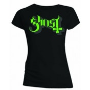 Ghost Green Grey Keyline Logo Skinny Ladies T Shirt: Small