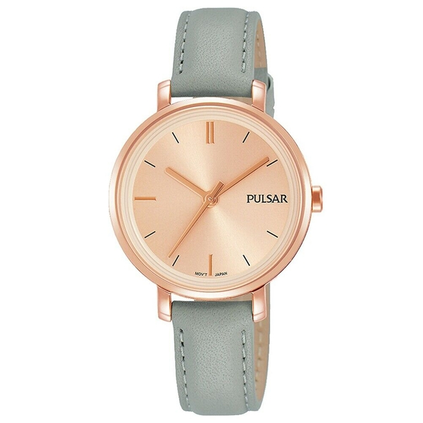 Pulsar PH8366X1 Ladies Grey Leather Strap Rose Gold Dial 50M Watch