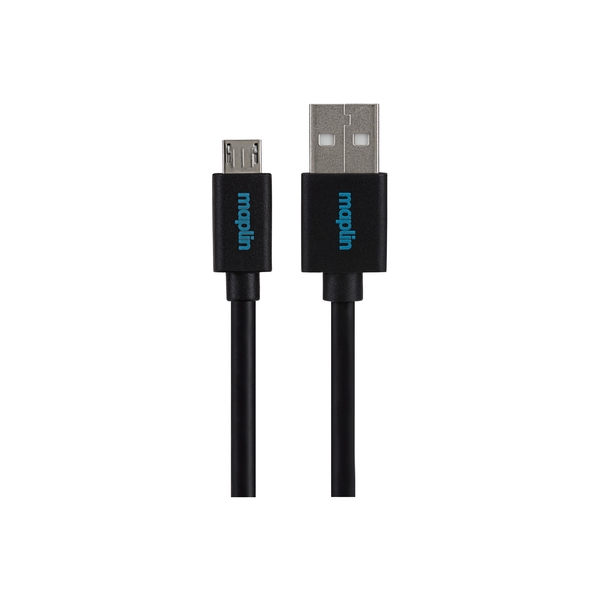 Maplin Premium USB A 2.0 Male to Micro USB B Male Cable 1.5m Black