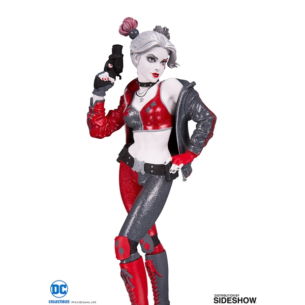 Harley Quinn Red White & Black Statue By Joshua Middleton