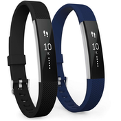 Yousave Fitbit Alta / Alta HR Strap 2-Pack Small - Black/Dark Blue