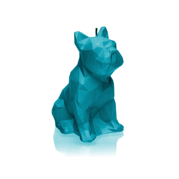 Marine Blue Low Poly Bulldog Candle