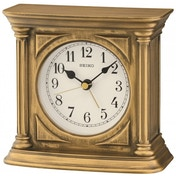 Seiko QXE051G Antique Finish Mantel Alarm Clock Gold