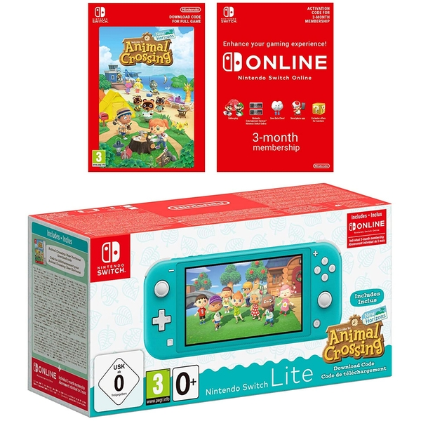 Nintendo Switch Lite Turquoise Plus Animal Crossing New Horizons + NSO 3 months