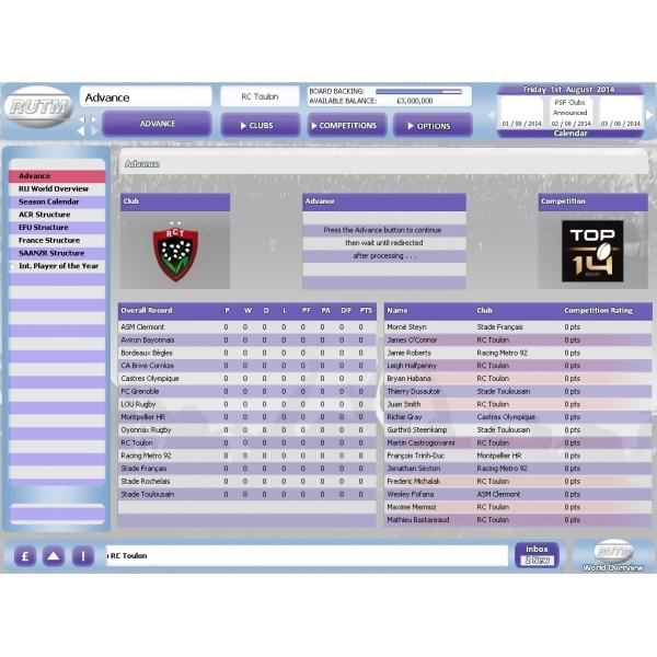 Rugby Union Team Manager 2015 PC Game - Image 3