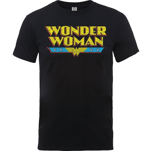 DC Comics - Wonder Woman Logo Crackle Men's X-Large T-Shirt - Black
