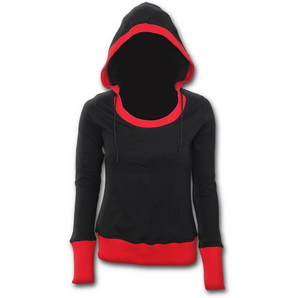 Urban Fashion Wide Rib DrapeWomen's X-Large Hoodie - Black