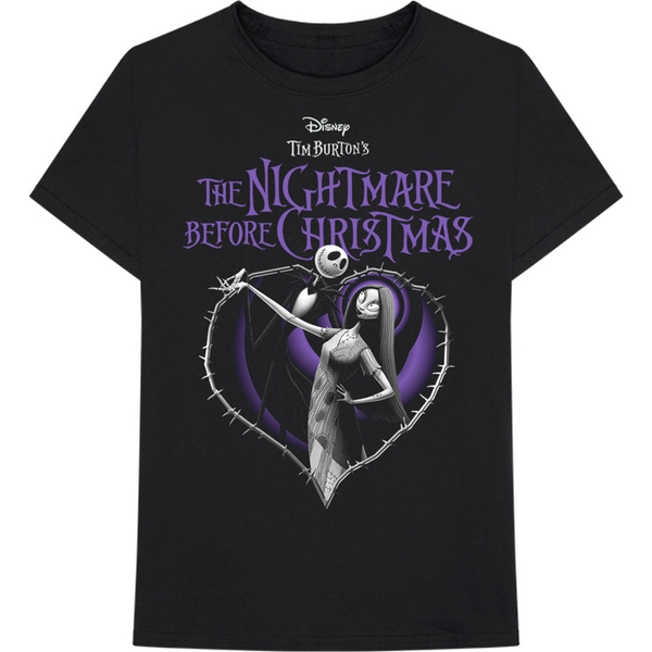 Disney - The Nightmare Before Christmas Purple Heart Unisex Small T-Shirt - Black