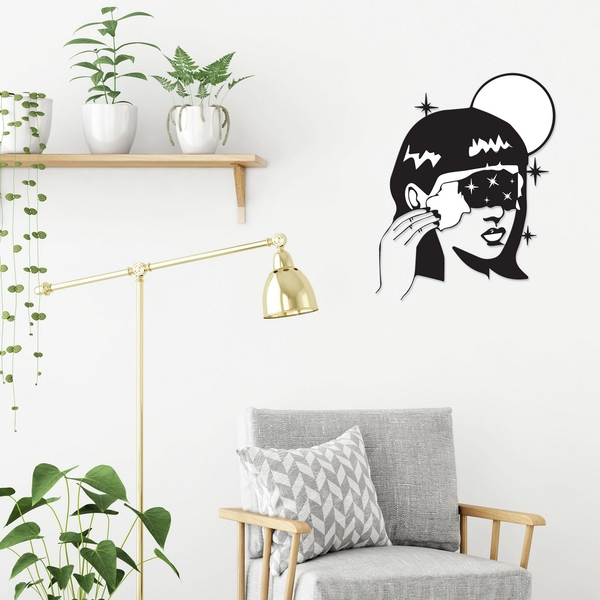 Space Girl Black Decorative Metal Wall Accessory