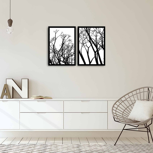 2PSCT-10 Multicolor Decorative Framed MDF Painting (2 Pieces)