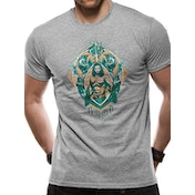 Aquaman Movie - Crest Unisex Large T-shirt - Grey