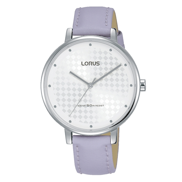 Lorus RG267PX8 Ladies Patterned White Dial Dress Watch with Mauve Leather Strap