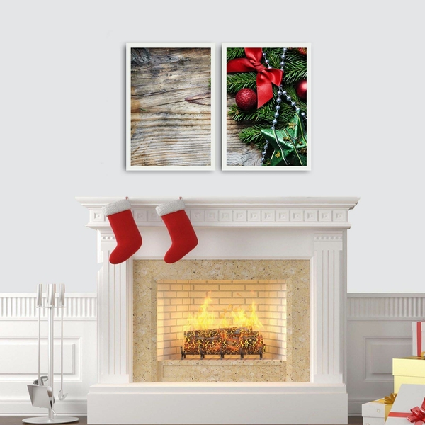 2PBCTNOEL-04 Multicolor Decorative Framed MDF Painting (2 Pieces)