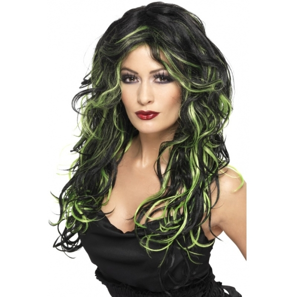 Gothic Bride Wig Black & One Size Green