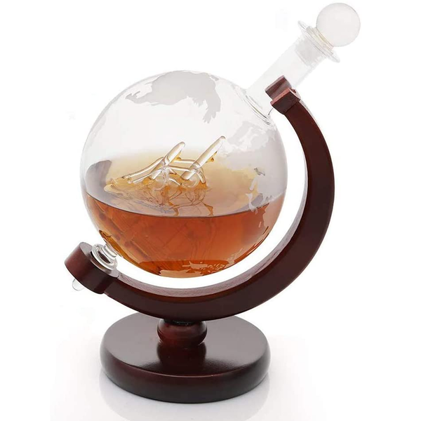 Globe Decanter with Wooden Stand | M&W