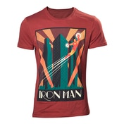 Marvel Comics Art Deco Flying Iron Man Small Red T-Shirt