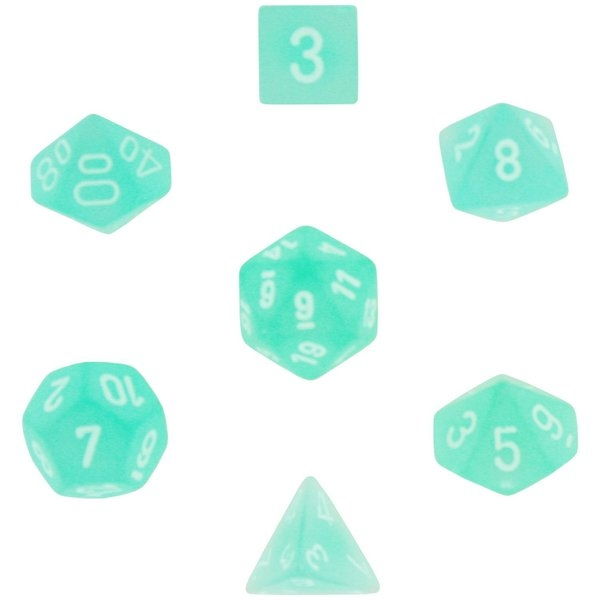 Chessex Poly 7 Dice Set: Frosted Teal with White