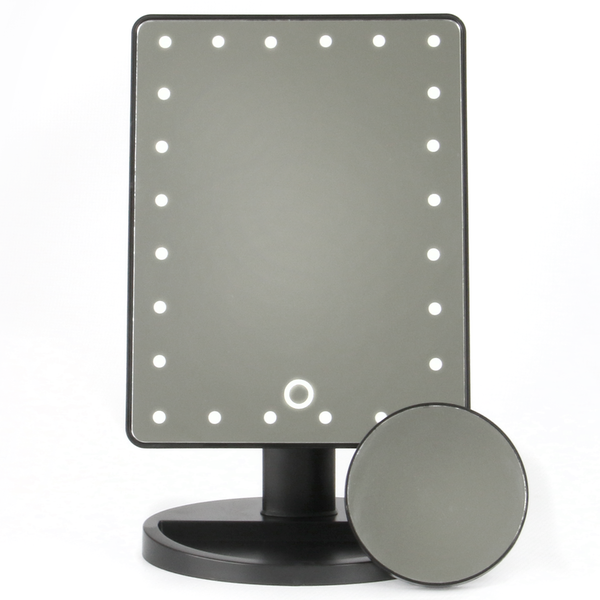 LED Light Up Illuminated Make Up Bathroom Mirror With Magnifier | M&W Black New - Image 6