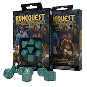 Q-Workshop RuneQuest: Turquoise & Gold Dice Set (Poly 7)