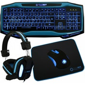 Game Max Raptor Keyboard Mouse Headset Mouse Mat Kit In Blue