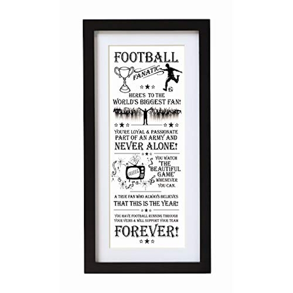 Arora The Ultimate Gift for Man Printed Word Poster-Black Wooden Framed Wall Art Picture-Football Fanatic, Multicolour, One Size