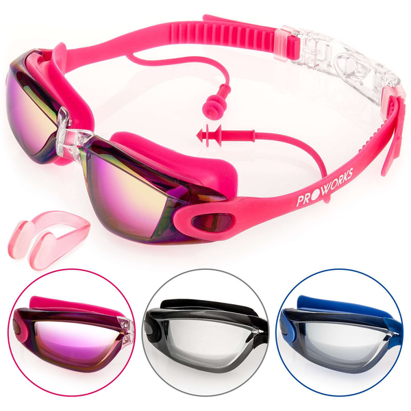 Proworks Anti-Fog  Mirrored UV Protection Swimming-Goggles (Pink)