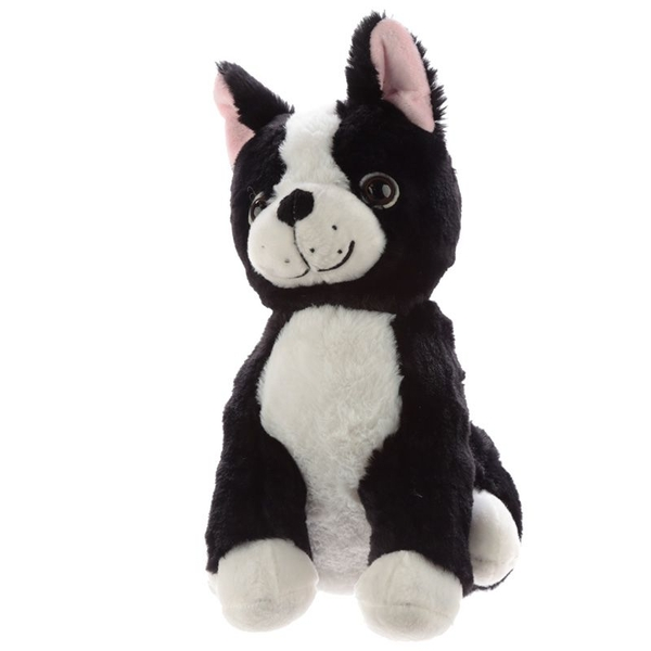 Plush Black and White Dog Door Stop