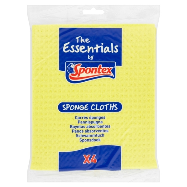 Spontex Essentials Sponge Cloths Pack 4