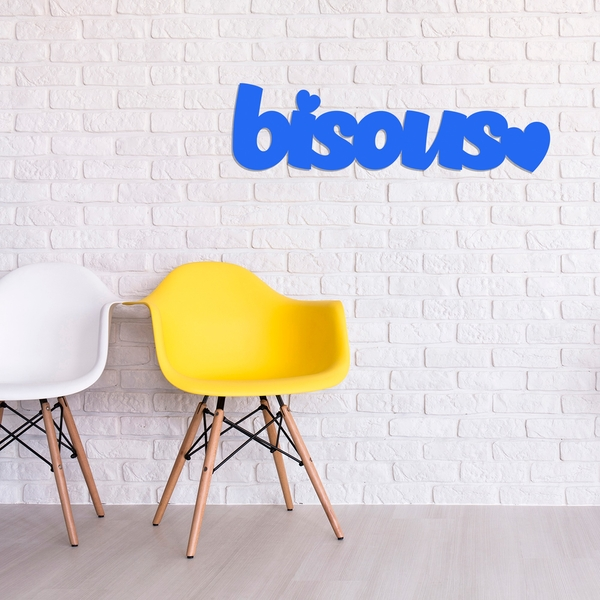 Bisous - Blue Blue Decorative Wooden Wall Accessory