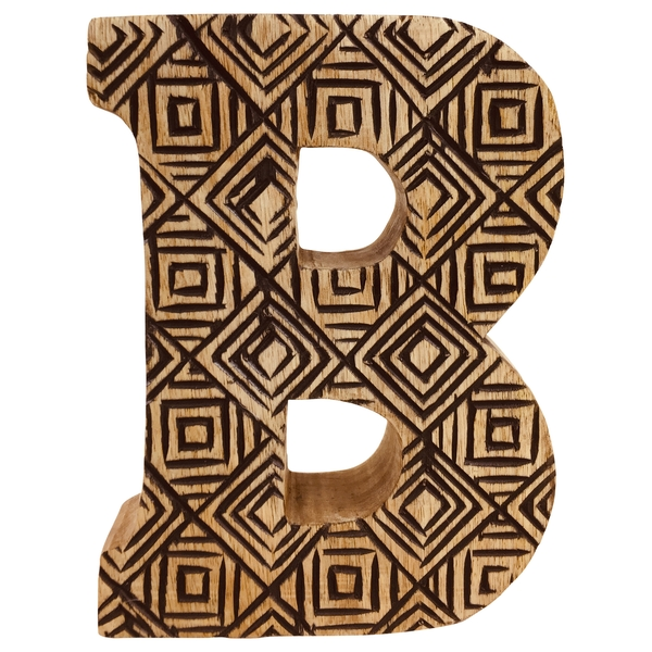 Letter B Hand Carved Wooden Geometric