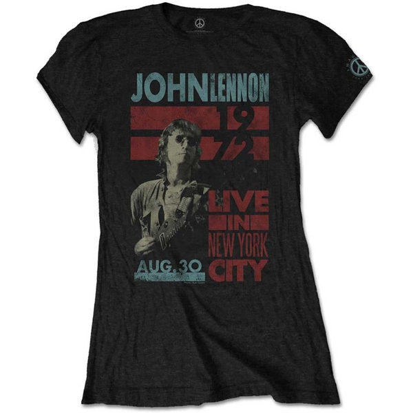 John Lennon - Live in NYC Women's Medium T-Shirt - Black