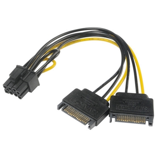 Akasa 6 2 Pin PCIe (M) to 2 x SATA Power (M   M) Adapter Cable