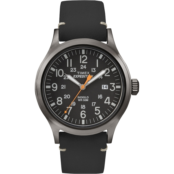 Timex TW4B01900 Expedition Scout Watch with Black Leather Strap & Black Dial