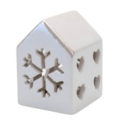 House-Shaped Candle Holder Snowflake Design