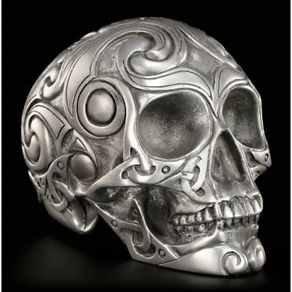 Celtic Tribal Silver Skull Design 3 (Medium)