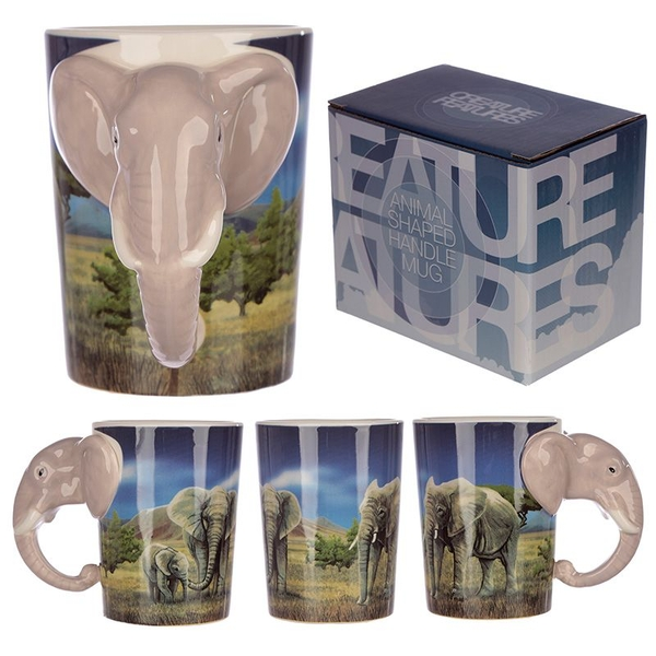 Ceramic Safari Printed Mug with Elephant Head Handle