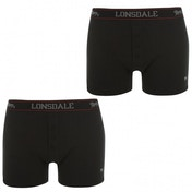 Lonsdale 2 Pack Mens Boxers Black Large
