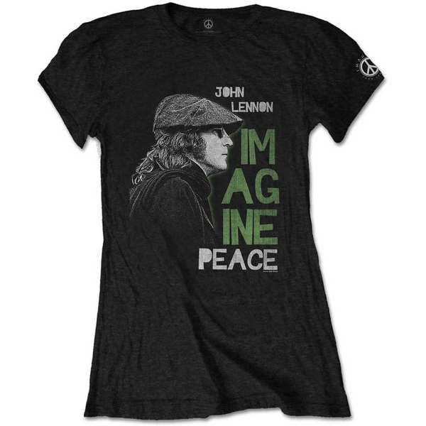 John Lennon - Imagine Peace Women's Large T-Shirt - Black
