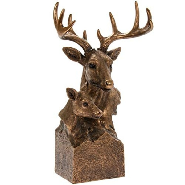 Reflections Brnzd Stag & Deer Bust Figurine By Lesser & Pavey